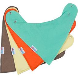 Baby Bandana Drool Bibs with Snaps, Solid Colors Unisex 4 Pa