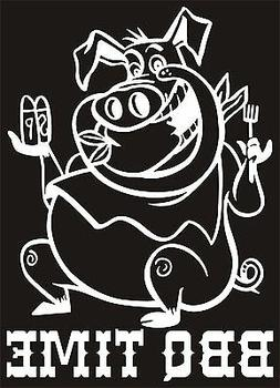 BBQ TIME PIG Vinyl Sticker/Decal grilling cook out pork smok