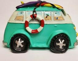 VW Volkswagon Bus Bank Surfboards Beach Groovy Large Blue Ce
